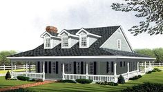 Country , Farmhouse , Southern House Plan 90347 with 3 Beds, 3 Baths Elevation Southern Farmhouse, Southern Porches, Southern House Plans, Country Style House Plans, Country Farmhouse Decor, Southern Homes, Farmhouse Plans, Southern Style, Southern Living