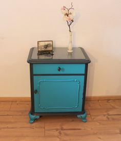 Vintage Barock Chippendale Kommode Türkis/Anthrazit Nachttisch Nachtschrank Tisch Telephone Table, Chest Of Drawers, Bedside, Cupboard, The Originals, Etsy, Furniture, Home Decor, Vintage Dressers