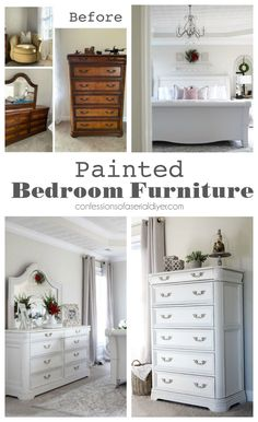 Painted Bedroom Furniture and Master Bedroom Reveal - bedroom furniture makeover Diy Furniture Renovation, Rustic Bedroom Furniture, Furniture Makeover, Master Bedroom Furniture, Rustic Cabin Furniture, Furniture Renovation, Bedroom Furniture Makeover, White Bedroom Furniture, Painted Bedroom Furniture