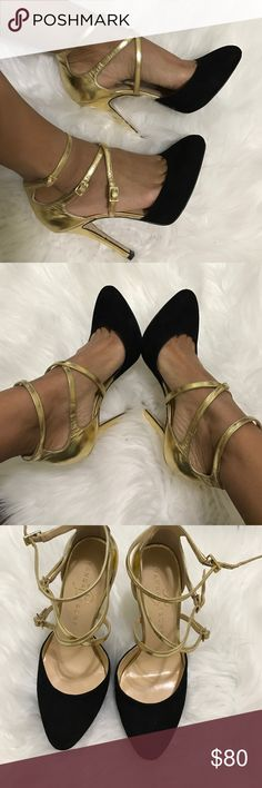 Beautiful Gold and Black dress shoes Like new Ivanca Trump dress shoes. These gold and black shoes bring a pop to any dress! Ivanka Trump Shoes Heels