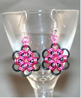 Pink Metal Flower Earrings