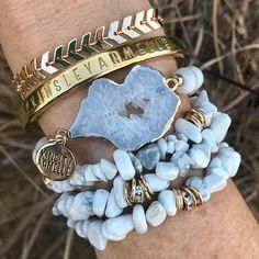 ・・・ ✨✨✨This stack features the newly released🔅Flurry Bracelet🔅from the🔅Agate Collection 🔅and the🔅Lance Bracelet 🔅from the🔅Goddess Collection✨✨✨ Druzy Jewelry, Emerald Jewelry, Gemstone Bracelets, Handmade Bracelets, Crystal Jewelry, Boho Jewelry, Beaded Jewelry, Jewelery, Jewelry Bracelets