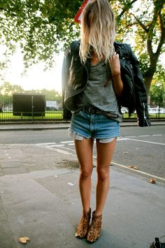 Leather, casual grey, denim cut offs & leopard print ankle boots. Winter street style.