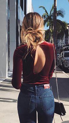 Cute velvet bodysuit + jeans
