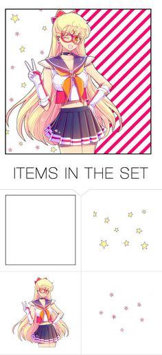 """☆ s a i l o r / v e n u s ☽"" by carebear-chan ❤ liked on Polyvore featuring art, anime, sailormoon, SailorVenus and MinakoAino"