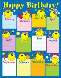 Birthday chartlets are an excellent way to celebrate students' birthdays! The Smiley Face Birthday chart measures x and includes a resource guide on the back. Kindergarten Classroom Decor, Classroom Rules, Classroom Displays, Birthday Calendar Classroom, Birthday Bulletin Boards, Classroom Charts, Birthday Display, Birthday Charts, Learning Shapes