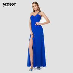 Find More Prom Dresses Information about Sexy Royal Blue One Shoulder Long Prom…