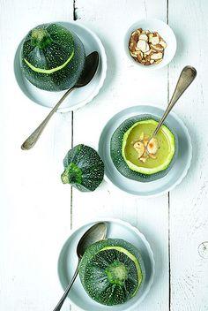 Vegan Zucchini Soup, soup in a gourd