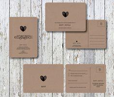 Kraft Paper Wedding Engagement Invitation Thank by MintConfetti, $7.00