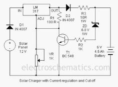 Here is a solar charger circuit is used to charge lead acid batteries or Ni-Cd with solar power. Circuit harvests solar energy to charge a. Battery Charger Circuit, Solar Charger, Electrical Engineering Quotes, Electrical Circuit Diagram, Electronics Basics, Electric Circuit, Electronic Circuit Projects, Electronic Schematics, Best Solar Panels