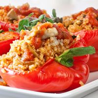 Quinoa and Mushroom-Stuffed Roasted Red Peppers #MeatlessMonday
