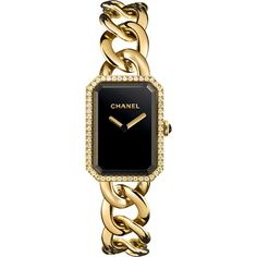 CHANEL PREMIÈRE 18K Yellow Gold Chain Watch with Diamonds ($27,800) ❤ liked on Polyvore featuring jewelry, watches, bracelets, accessories, 18k gold watches, 18k watches, gold crown, gold diamond jewelry and dial watches