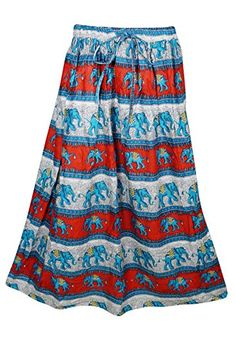 28f39c8df2 Mogul Interior Womens Retro Skirts Printed A-Line Flirty Bohemian Long Skirt  (Red-