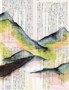 Yellow Mountains one - mountain art print print in 8x10 signed dated, peach, pink, charcoal and gray mountains on vintage Japanese book page...