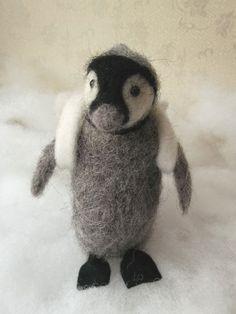 Needle Felted Animal OOAK Miniature Baby Penguin by MrsPlopsShoppe,