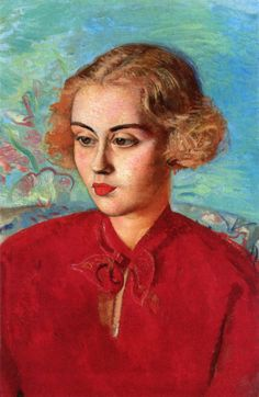 WOMAN IN RED DRESS Boris Grigoriev (1886, Rybinsk, near Moscow, Russia ~ 1939, Cagnes-sur-Mer, France)