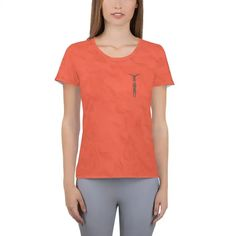 Two High Women's Athletic T-shirt Living Coral Mesh Fabric, Spandex Fabric, Women's Shirts, Coral Color, Fabric Weights, V Neck, Athletic, T Shirt, Tops