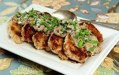 pork chops w mushrooms and bourbon cream sauce
