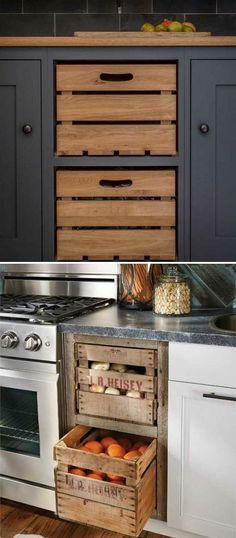 Insanely Cool Ideas for Storing Fresh Produce Add farmhouse style to kitchen by replacing cabinet drawers with these old wooden crates.Add farmhouse style to kitchen by replacing cabinet drawers with these old wooden crates. Kitchen On A Budget, New Kitchen, Kitchen Dining, Kitchen Rustic, Kitchen Island, Kitchen Small, Kitchen Pantry, Kitchen Backsplash, Backsplash Ideas