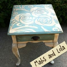 Mabs and Lola: Old white and Provence Floral Top End Table