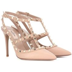 Valentino Valentino Garavani Rockstud Leather Pumps ($945) ❤ liked on Polyvore featuring shoes, pumps, valentino, heels, beige, beige pumps, beige leather pumps, heel pump, genuine leather shoes and leather pumps