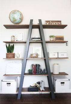 DIY West Elm Inspired Ladder Bookshelf (Cinsarah)