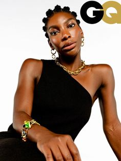 Michaela Coel styled by Angelo Mitakos for British GQ - Enough said! Thank you so much  for featuring our Giant Gold Double Linked Necklace and  Large Gold Eternity Hoop Earrings!