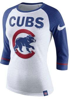 Nike Chicago Cubs Womens Triblend Raglan White T-Shirt
