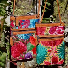 Nubuck & embroidered fair trade shoulder pouches in gorgeous vivid color **Altiplano