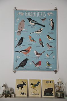 I love this garden birds poster. And this link leads or a really great kids room with lots of inspiration