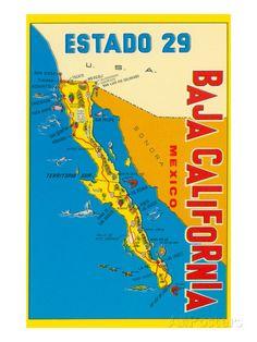 Map of Baja California, Mexico Posters at AllPosters.com