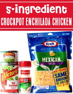 Crockpot Chicken Recipes Easy Simple Mexican Dinner! Let your slow cooker do the work for you this week with this outrageously delicious Enchilada Chicken! Just 5 ingredients and you're done! Go grab the recipe and give it a try! Delicious Crockpot Recipes, Crockpot Dishes, Easy Chicken Recipes, Easy Dinner Recipes, Dinner Ideas, 5 Ingredient Dinners, November 3, Suppers, Chicken Enchiladas