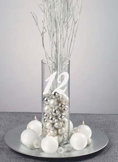 Etched Centerpieces, with table numbers.