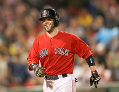 BOSTON, MA - JUNE Dustin Pedroia of the Boston Red Sox celebrates after scoring a run against the Cleveland Indians in the seventh inning at Fenway Park on June 2014 in Boston, Massachusetts. (Photo by Jim Rogash/Getty Images) Boston Red Sox Photos - ESPN Dustin Pedroia, Boston Strong, Fenway Park, Oakland Athletics, Cleveland Indians, Texas Rangers, Boston Red Sox, Espn, Polo Ralph Lauren