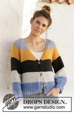 Free knitting patterns and crochet patterns by DROPS Design Drops Design, Knit Cardigan Pattern, Crochet Cardigan, Knit Crochet, Knitting Patterns Free, Free Knitting, Crochet Patterns, Knitting Designs, Drops Kid Silk
