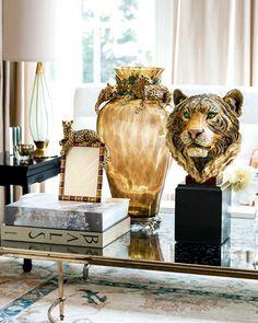 Jay Strongwater Leopard Frame, Leopard Vase, & Tiger Head Objet #DecorDiva #Holiday #GiftGuide