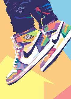 Jordan Shoes Wallpaper, Sneakers Wallpaper, Pop Art Posters, Poster Prints, Cool Nike Wallpapers, Illustration Pop Art, Illustrations, Nike Poster, Sneaker Posters