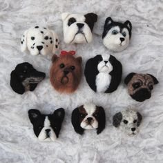 needle felted dog brooches