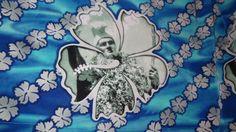 Hawaiian Shirt Hibiscus Flowers Warrior Size L Blue White Geometric Print  #7Diamonds #Hawaiian
