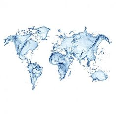 Blue Water Splash World Map Wall Mural