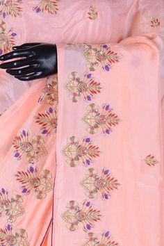 Coral Orange Zardosi Embroidered Silk Saree-VJ2482