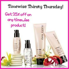 Timewise Thirsty Thursday!   Your body and face are thirsty for our Timewise products!   Call me/text me to place your order or to schedule an appointment to try them first for FREE before you buy. 703-967-2241  You can also visit my website www.marykay.com/stephannieramirez