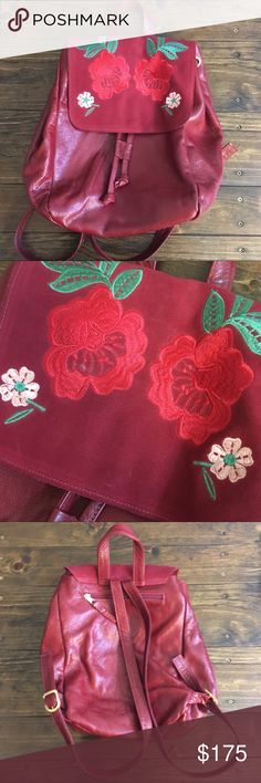 Red Rose 🌹 Leather Backpack Beautiful red leather backpack with red rose embroidery (REAL leather, not faux); inside pocket and outside pocket. Bought from Anthropologie and worn once. EXCELLENT condition!   Bundle 2+ Items and get a 10% discount. Anthropologie Bags Backpacks