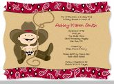 Little Cowboy - Baby Shower Invitations With Squiggle Shape