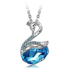 """""""Swan Lake"""" Blue Swan Pendant Necklace Made With Swarovski Crystals"""