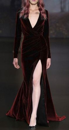 Love Love LOVE! Stunning Deep Burgundy Long Sleeve High Slit Velvet Prom Dress. The color is phenomenal!