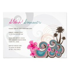 Tropical Waves Hibiscus Hawaiian Luau Summer Party Personalized Invitation by fatfatin Check out all my SUMMER PARTY INVITATION collection here : http://www.zazzle.com/fat_fa_tin/gifts?ps=120=196939777821033947