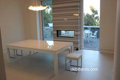 Modern White Pool Table – DK Billiards Pool Table Moving & Repair #dkbilliards #diningpooltable #aramith #pooltable #modern #steel