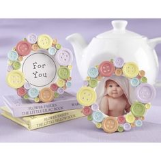 "Features:  -Center insert says ""For You"".  -Coordinates with the ""cute as a button"" scented soap and ""cute as a button"" tealight holder.  -Multi-colored, resin buttons in various sizes on a circular,"