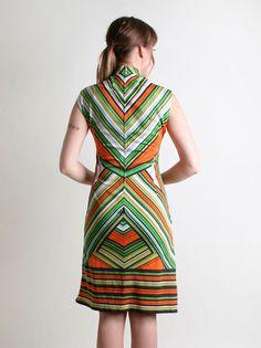 Vintage Chevron Dress  1960s Go Go Tunic Dress in Citrus by zwzzy